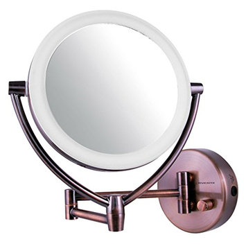 Ovente MLW75AB 7.5inch LED Lighted Wall Mount Vanity Mirror