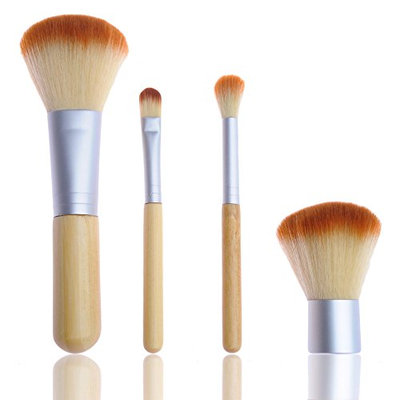 Bliss & Grace 4 Piece Travel Bamboo Make-Up Brush Set