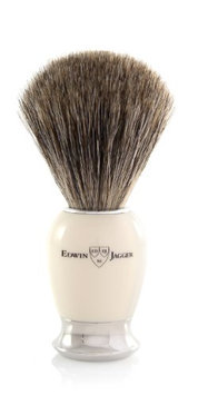 Edwin Jagger 81SB587 Simulated Ivory Pure Badger Hair Shaving Brush with Nickel Plated Collar and End Cap