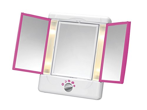 Conair Double-Sided Lighted Makeup Mirror with 3 Panels and 4 Light Settings