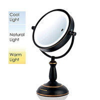 Ovente MPT75BZ Multi Touch Tabletop Makeup Mirror with 3 Tone LED Light Option