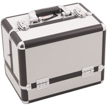 Sunrise 3-Tier Accordion Trays Makeup Case with Shoulder Strap in White Smooth