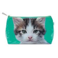 Catseye Kitten On Green Cosmetic Wash Bag