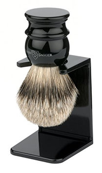 Edwin Jagger Large Silver Tip Badger Hair Shaving Brush With Drip Stand - Imitation Ebony