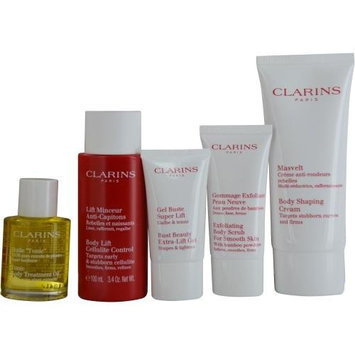 Clarins Perfect Body Kit 5 Piece in Clear Plastic Travel Tote