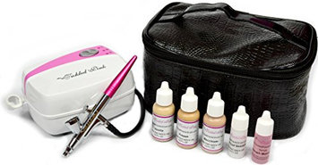 Tickled Pink Airbrush Makeup Compressor Kit with Light Shades Foundation