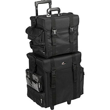 JustCase T5171 2-in-1 Soft Sided Professional Rolling Trolley Makeup Artist Cosmetic Case