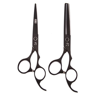 ShearsDirect Black Titainium Japanese Stainless Steel Scissors Cutting Shear and Tooth Thinner