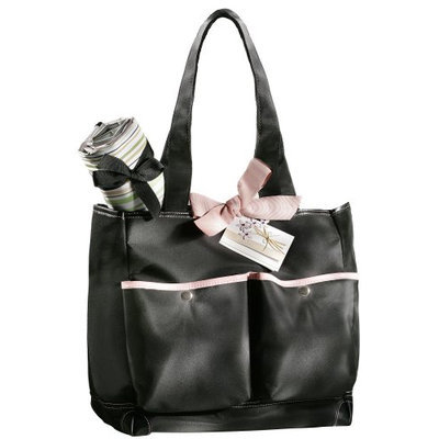 Basq Signature Black With Pink Piping Diaper Bag And Changing Pad.