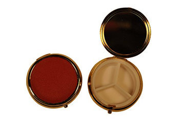 Budd Leather Company Round Leather Covered 3 Section Pill Box