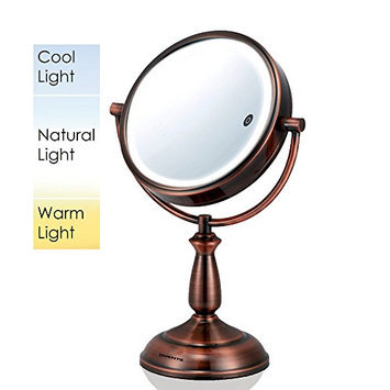 Ovente MPT75CO Multi Touch Tabletop Makeup Mirror with 3 Tone LED Light Option