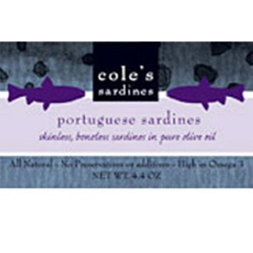 Cole's Skin and Boneless Sardines in Olive Oil, 3.7-Ounce (Pack of 5)