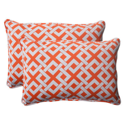 Pillow Perfect Outdoor 2-Piece Rectangular Toss Pillow Set/White Boxed In Geometric