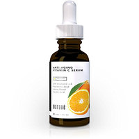 ORGANIC 20% Vitamin C Anti-Aging Facial Serum. Reduces Wrinkles and Fine Lines. Pure Vegan Formula Contains 20% Vitamin C + Vitamin E + Organic Aloe + 11% Hyaluronic Acid + Ferulic Acid + Amino Blend.