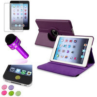 Insten iPad Mini 3/2/1 Case, by INSTEN Purple 360 Stand Leather Case Cover+Matte SP for iPad Mini 3 2 1