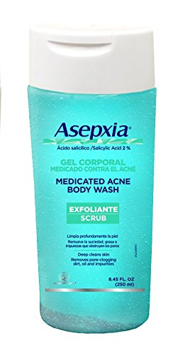 Asepxia Shower Gel Exfoliating Scrub Acne Blackhead Pimple Treatment with 2% Salicylic Acid 8.5 oz