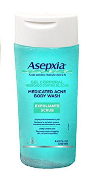 Asepxia Shower Gel Exfoliating Scrub Acne Blackhead Pimple Treatment with 2% Salicylic Acid 8.5 oz