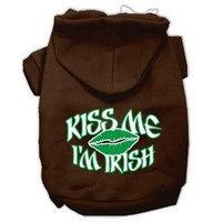 Mirage Pet Products Kiss Me I'm Irish Screen Print Pet Hoodies Brown Size XL (16)