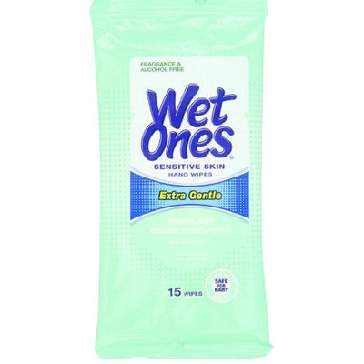 Wet Ones Sensitive Skin Hand and Face Wipes Travel Pack