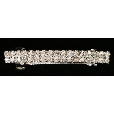 Caravan French Type Medium Automatic Barrette Decorated with Swarovski Crystal Stones