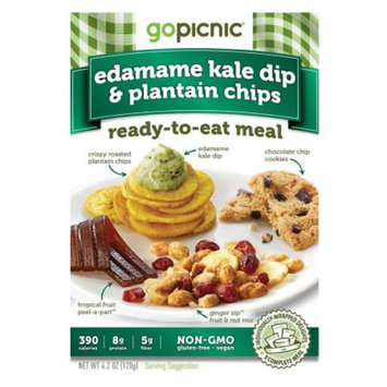 GoPicnic Ready-to-Eat Meal, Edamame Kale Dip & Plantain Chips, 6pks, 1 case