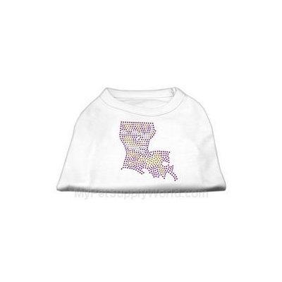 Mirage Pet Products 5244 XLWT Louisiana Rhinestone Shirts White XL 16