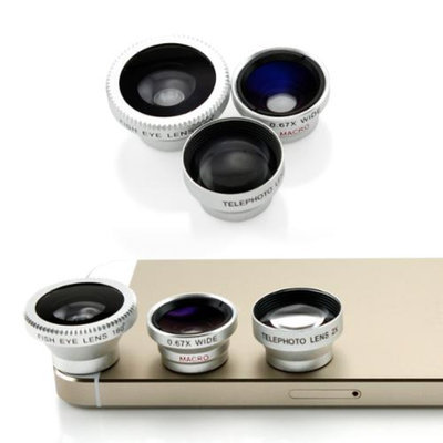 3 in 1 Universal Phone kit Fisheye Fish Eye Lens, Wide Angle Telephot 2xZoom and Micro Lens Smartphone Camera Lens - Silver