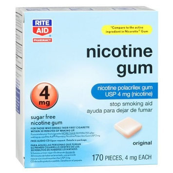 RITE AID NICOTINE POLACRILEX GUM ORIGINAL 4MG 170 PIECES