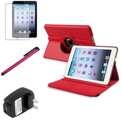 Insten iPad Mini 3/2/1 Case, by INSTEN Red 360 Leather Case Cover+Matte Protector/Stylus/for iPad Mini 3 2 1