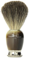 Edwin Jagger Simulated Horn Pure Badger Hair Shaving Brush with Nickel Plated Collar and End Cap
