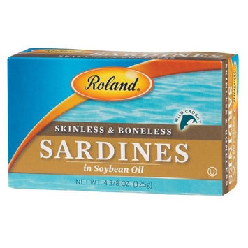 Roland Skinless and Boneless Sardines in Soybean Oil, 4.38-Ounce Cans (Pack of 20)
