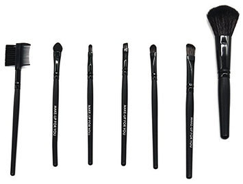 PuTwo Makeup Brush Set 7pcs Professional Travel Essential Cosmetic Makeup Make Up Makeup Brushes Set Makeup Kit with Pouch Bag Case - Black