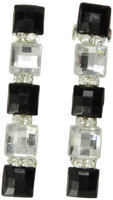 Caravan Jeweled With Five (5) Squares Of Jet (black) And Crystal (clear) Plus Rhinestone Auto Barrettes Pair