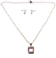 Linda Fashion Square Hollow Rhinestone Necklace and Earrings Set