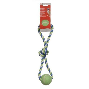 Hagen 72393 Dogit Striped Cotton Loop Tug with 2 Tennis Balls, Multi, 18-Inch