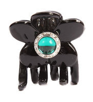 Caravan Hand Decorated Flower Shaped Hair Claw In Emerald and Swarovski Crystal Stones Double Sided