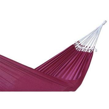 NOVICA Cotton hammock, 'Ipanema Wine' (single) - Fair Trade Cotton Solid Burgundy Hammoc