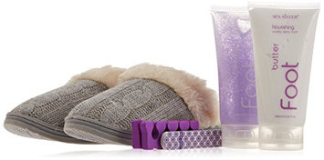 Bath Accessories New Cable Knit Foot Spa Slipper Set