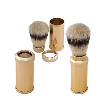 Harry D Koenig Travel Gold Color Plated Bristle Shave Brush
