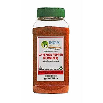Indus Organics Indus Organic Cayenne Pepper Powder, 40,000 Shu, 1 Lb Jar, High Purity, Freshly Packed...