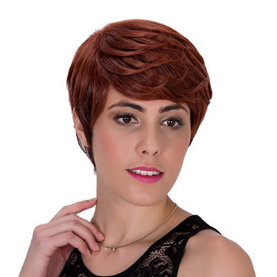Probeauty Charming Short Wave Synthetic Party Hair Auburn Wig for Women