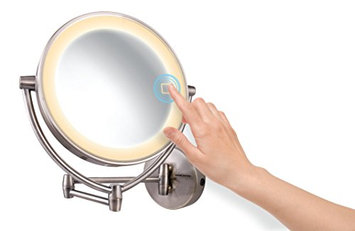 Ovente MLW95BR Dual Sided Multi Touch Wall Mount Vanity Mirror