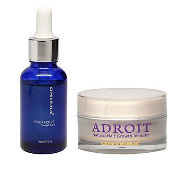 Omiera Labs Podiazole Nail Fungus Treatment Plus Adroit Facial Hair Inhibitor Cream