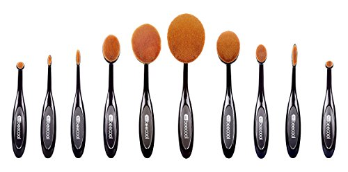 LetsBeeCool® 10 Pcs Soft Oval Toothbrush Makeup Brush Set