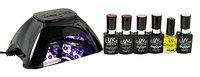 UV-NAILS Best Salon Quality UV Gel Nail Polish Starter Kit with Black LED Lamp