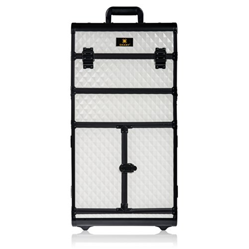 SHANY REBEL Series Pro Makeup Artists Rolling Train Case - Trolley Case - Ghostly White