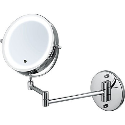 Ovente MFW70CH 7.0 Inch Battery Operated LED Lighted Wall Mount Vanity Makeup Mirror