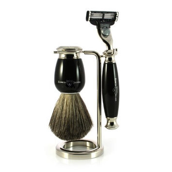 Edwin Jagger Simulated Ebony and Nickel Shaving Set