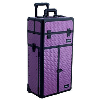 Sunrise 2-in-1 Aluminum Rolling Cosmetic Makeup Artist French Door Case with 3 Sliding Trays and 2 Large Drawers