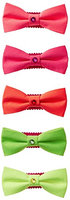 Curls & Pearls Kid's Neon Bow Clip with Crystal-Set of 5